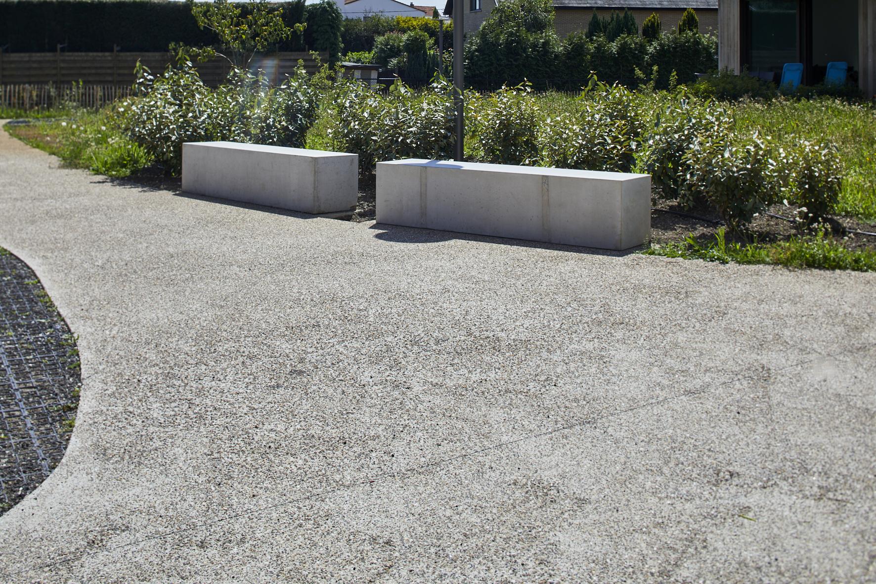 Buitenpaden uitgewassen beton